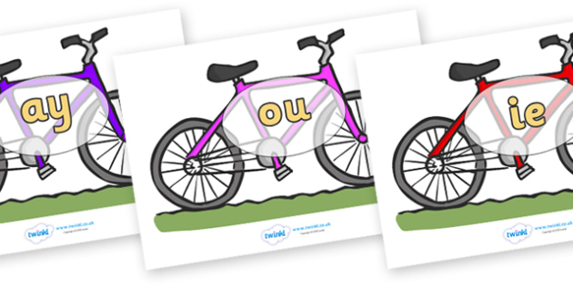 Phase 5 Phonemes on Bicycles - Phonemes, phoneme, Phase 5, Phase five, Foundation, Literacy, Letters and Sounds, DfES, display