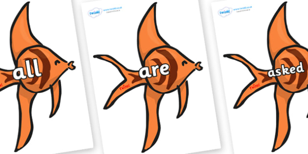 Tricky Words on Angel Fish - Tricky words, DfES Letters and Sounds, Letters and sounds, display, words