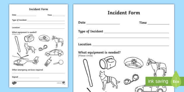 Garda Incident Form - garda, police force, ireland, republic of ireland, role play, police station, garda station, detective, role play area, incident form, incident