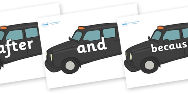 Connectives on Taxi Cabs - Connectives, VCOP, connective resources, connectives display words, connective displays
