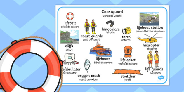 Coastguard Word Mat Romanian Translation - romanian, coastguard