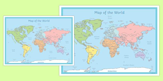 World Map Poster - world, map, poster, display, world map, land