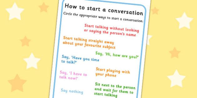 How To Start A Conversation Worksheet - conversation starters