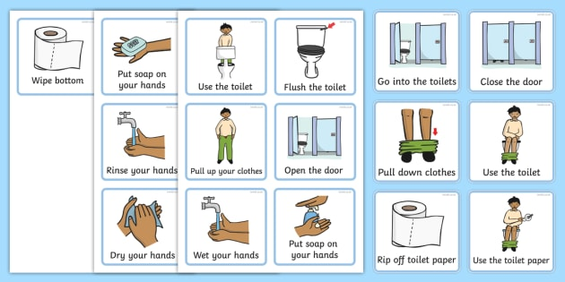 Visual Timetable (Using The Toilet) - how to use the toilet, wash hands, flush toilet, Visual Timetable, SEN, Daily Timetable, School Day, Daily Activities, flush the toilet, toilet, toilets, boys, girls