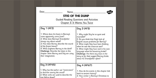 Stig of the Dump Guided Reading Chapter 3 - story, reading aid