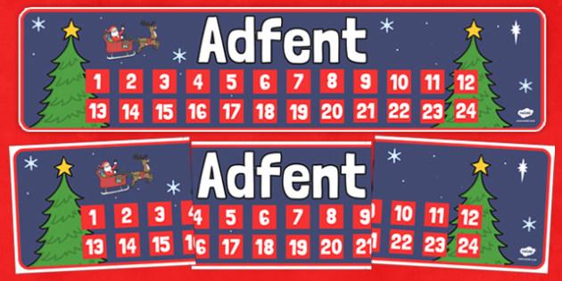 Baner 'Adfent' - cymraeg, baner adfent, baner, adfent, advent banner, advent, banner, christmas