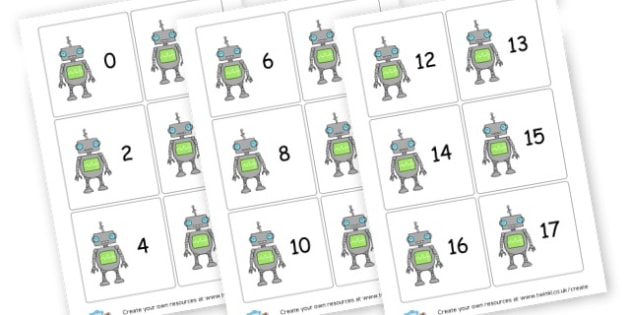 0-20 On Robots - Number Display Primary Resources, maths, math, numeracy, counting
