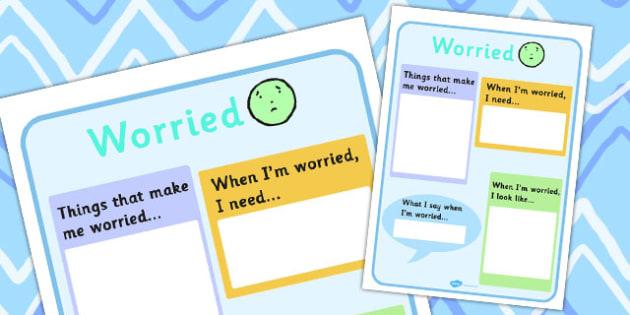 Worried  Writing Template - feelings, emotions, SEN, class management, charts