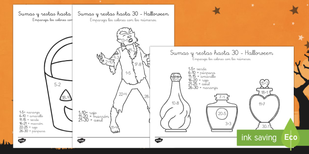 Halloween Colouring by Numbers Addition and Subtraction to 30