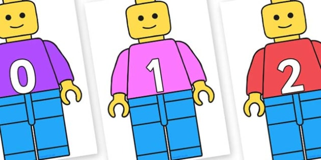 Numbers 0-50 on Building Brick Man - 0-50, foundation stage numeracy, Number recognition, Number flashcards, counting, number frieze, Display numbers, number posters