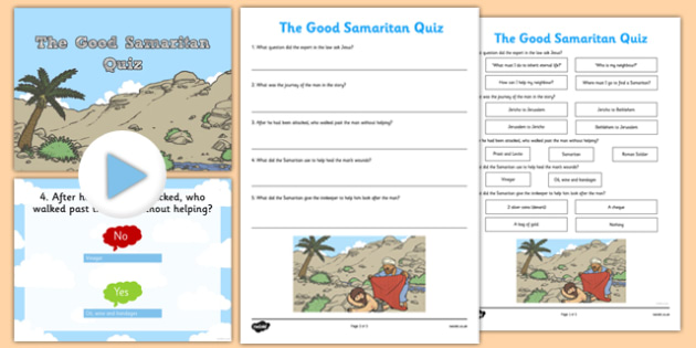 The Good Samaritan Quiz - the good samaritan, quiz, activity, christianity, parable, samaritan