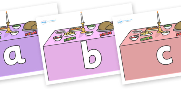 Phoneme Set on Christmas Dinner (Tables) - Phoneme set, phonemes, phoneme, Letters and Sounds, DfES, display, Phase 1, Phase 2, Phase 3, Phase 5, Foundation, Literacy
