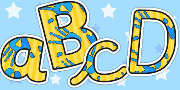 A4 Blue and Yellow Handprint Themed Display Lettering - display, lettering