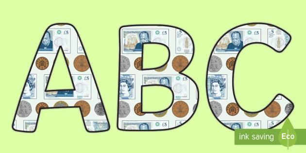 Money Display Lettering - money, money lettering, money letters, money alphabet, money themed lettering, coins and notes display lettering, a-z alphabet