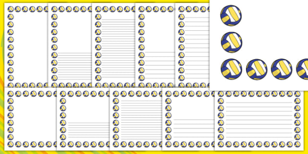Rio 2016 Olympics Beach Volleyball Page Borders Pack - Beach Volleyball, Olympics, Olympic Games, sports, Olympic, London, 2012, page border, border, writing template, writing aid, writing, activity, Olympic torch, events, flag, countries, medal, Oly