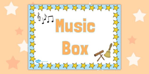Music Box Label - sign, organisation, tidying, storage, early years, ks1, key stage 1, ks2, key stage 2, instruments,