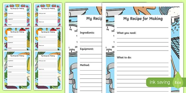 Recipe Writing Frames Pack