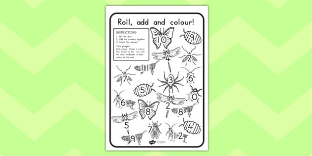 Minibeast Roll and Colour Worksheet - dice games, games, activity
