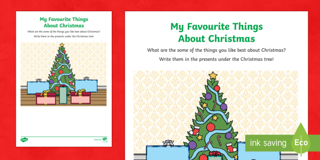 My Favourite Things about Christmas Activity Sheet