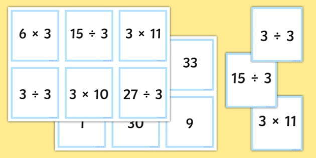 Multiplication Division Facts The 3 Times Table Matching Cards