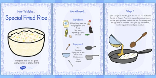 Special Egg Fried Rice Recipe Cards - rice, recipe, cards, egg