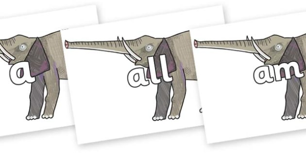 Foundation Stage 2 Keywords on Elephant to Support Teaching on The Bad Tempered Ladybird - FS2, CLL, keywords, Communication language and literacy,  Display, Key words, high frequency words, foundation stage literacy, DfES Letters and Sounds, Letters