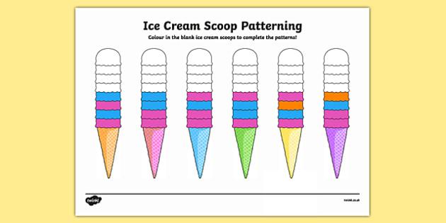 Ice Cream Scoop Repeating Patterns - ice cream scoop, repeating pattern, repeat, pattern