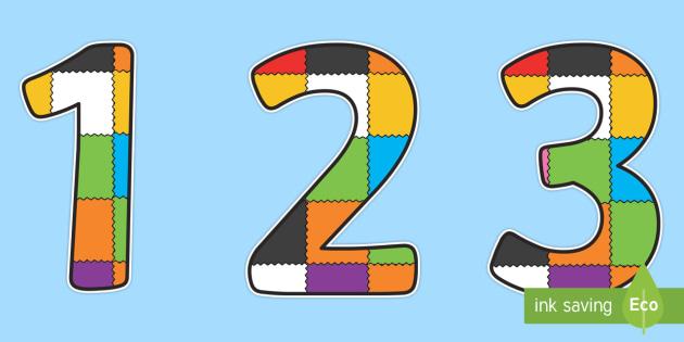 Patchwork Display Numbers to Support Teaching on Elmer - Elmer, Elmer the elephant, resources, Elmer story, patchwork elephant, PSHE, PSE, David McKee, colours, patterns, story, story book, story book resources, story sequencing, story resources