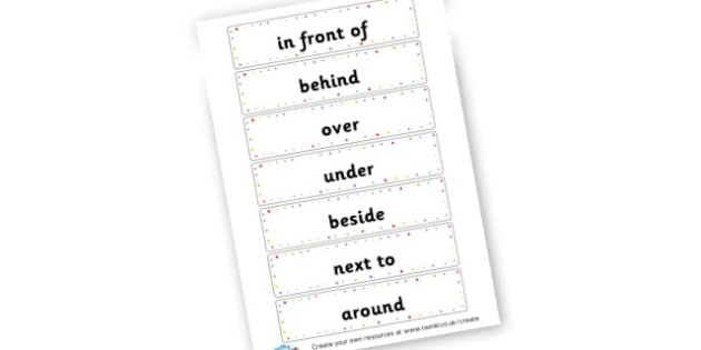 Positional Vocab Cards - Position Primary Resources, positional, shapes, space, measures