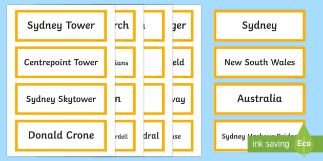 Sydney Australia Word Cards-Australia - Sydney Australia,Australia
