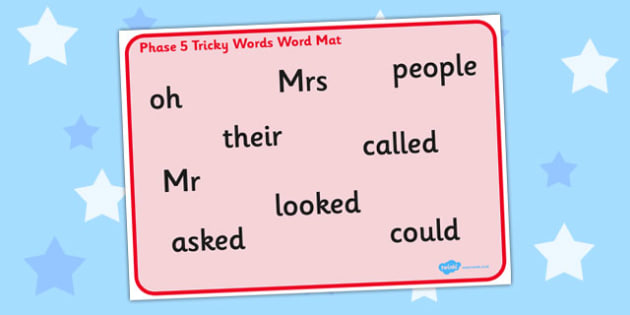 Phase 5 Tricky Words Word Mat - mats, trick, visual, aid, aids