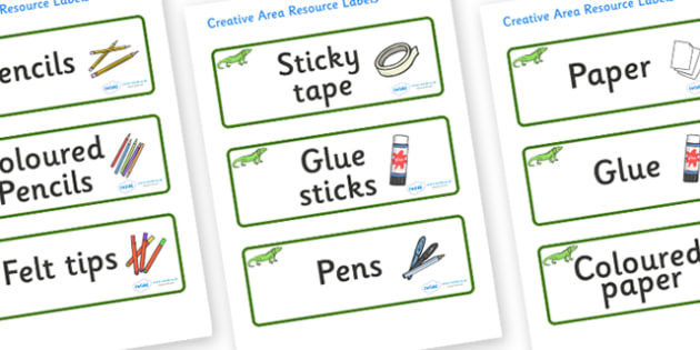 Iguana Themed Editable Creative Area Resource Labels - Themed creative resource labels, Label template, Resource Label, Name Labels, Editable Labels, Drawer Labels, KS1 Labels, Foundation Labels, Foundation Stage Labels