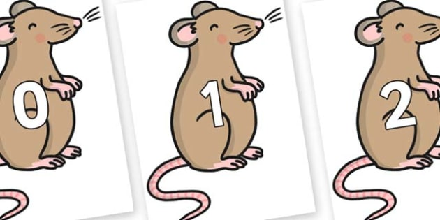 Numbers 0-31 on Mouse - 0-31, foundation stage numeracy, Number recognition, Number flashcards, counting, number frieze, Display numbers, number posters