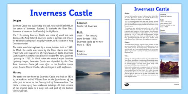 Inverness Castle Information Sheet - First Level, Social Studies, Scottish history, Scottish Castles