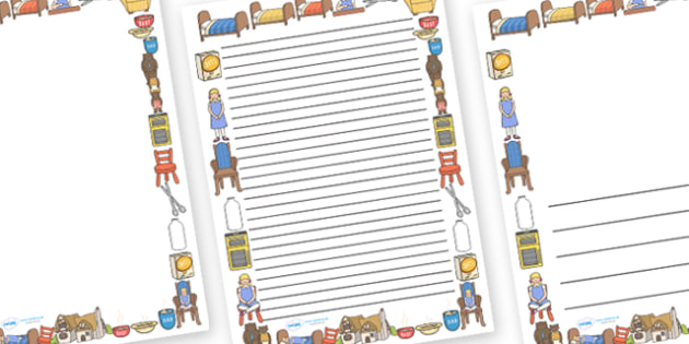 Goldilocks and The Three Bears Page Borders (A4) - goldilocks, three bears, bears, story, book, page border, border, writing template, writing aid, writing