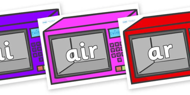Phase 3 Phonemes on Microwaves - Phonemes, phoneme, Phase 3, Phase three, Foundation, Literacy, Letters and Sounds, DfES, display