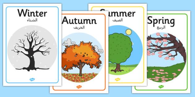 Four Seasons Posters A4 Arabic Translation - arabic, four seasons, four, seasons, posters, display, a4
