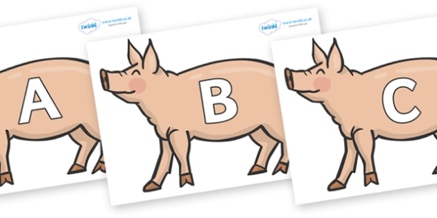 A-Z Alphabet on Pig to Support Teaching on Pig in the Pond - A-Z, A4, display, Alphabet frieze, Display letters, Letter posters, A-Z letters, Alphabet flashcards
