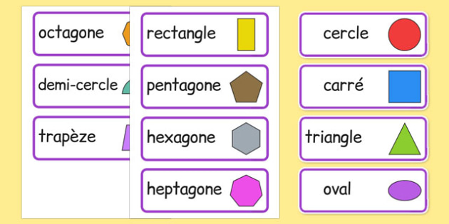 2D Shape Word Cards French - french, 2d shape, word cards, word, cards, maths, numeracy, shape,2Dshape