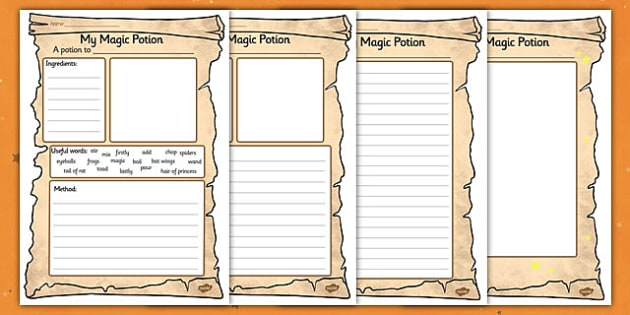 Magic Potion Writing Activity Sheet - Magic Potion Writing Worskheet, worksheet, magic potion, potion, sheet, activity, halloween, pumpkin, witch, bat, scary, black cat, mummy, grave stone, cauldron, broomstick, haunted house, potion, Hallowe'en