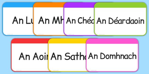 Days of the Week Flashcards Gaeilge - roi, irish, gaeilge, days, week, days of the week, flashcards, flash cards