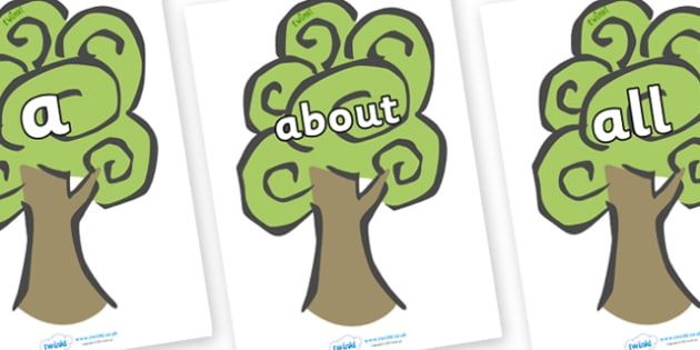 100 High Frequency Words on Trees - High frequency words, hfw, DfES Letters and Sounds, Letters and Sounds, display words