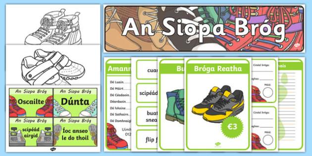 Shoe Shop Role Play Pack Gaeilge - irish, gaeilge, Shoe shop, shoes, role play, pack, shop, trainers, shoe box, labels, measuring chart, word cards