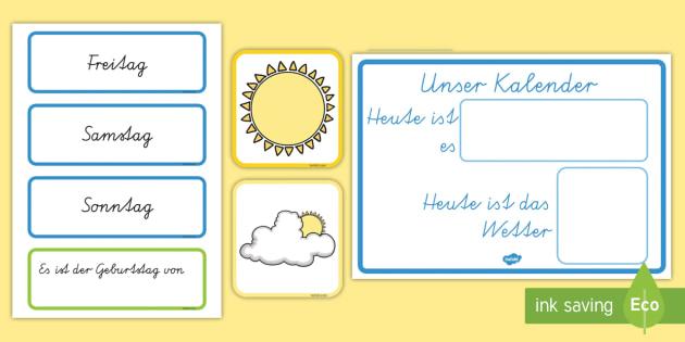 Unser Kalender Weather Calendar German - german, Weather calendar, Weather chart, weather, calendar, months, days, weather display, date display, rain, sun, snow, fog, cloud