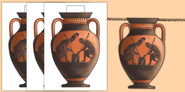 Greek Vase Bunting - greek vase display bunting, greek bunting, vase bunting, history bunting, greek pot bunting, ancient greece, ks2 history display