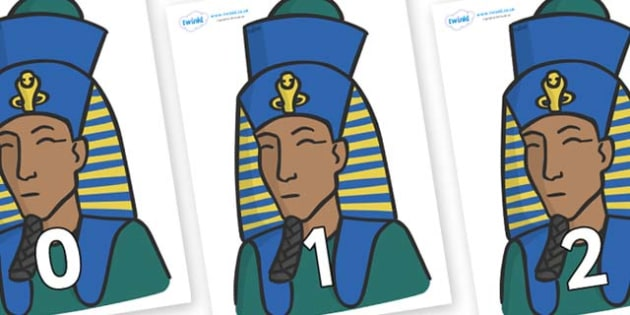 Numbers 0-31 on Pharaohs - 0-31, foundation stage numeracy, Number recognition, Number flashcards, counting, number frieze, Display numbers, number posters