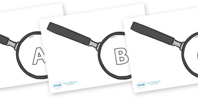 A-Z Alphabet on Magnifying Glass - A-Z, A4, display, Alphabet frieze, Display letters, Letter posters, A-Z letters, Alphabet flashcards
