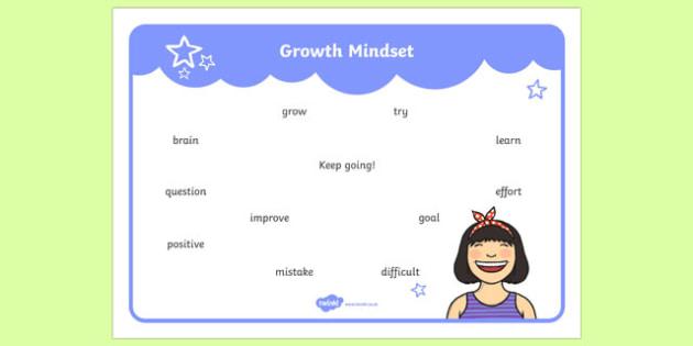 Growth Mindset Lower School Vocabulary Word Mat Word Mat-Australia