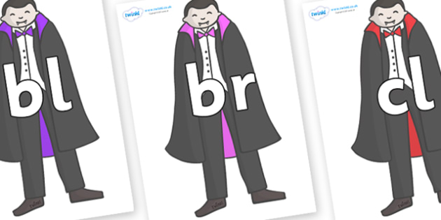 Initial Letter Blends on Vampires - Initial Letters, initial letter, letter blend, letter blends, consonant, consonants, digraph, trigraph, literacy, alphabet, letters, foundation stage literacy