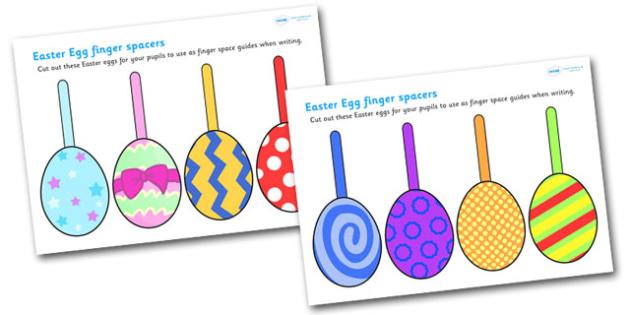 Easter Egg Finger Spacers - finger spacers, finger, spacers, reading, easter, easter spacers, easter finger spacers, easter egg spacers, easter egg writing aid, writing, reading and writing, writing aid, learning to write